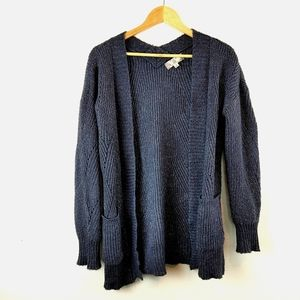 PINK ROSE |Navy Blue Knit Open Front Long Cardigan
